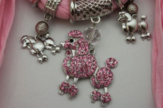 Alwaystyle4you Women Light Pink Scarf Fabric Dog Poodle Pendant Necklace Image 3