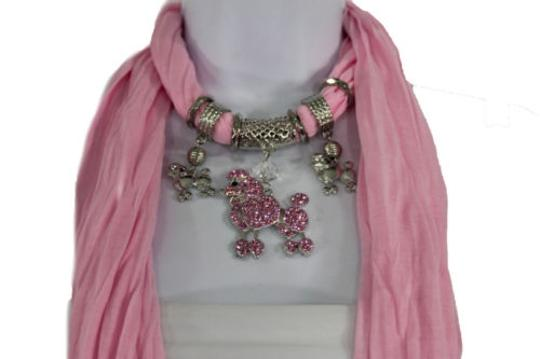 Alwaystyle4you Women Light Pink Scarf Fabric Dog Poodle Pendant Necklace Image 4