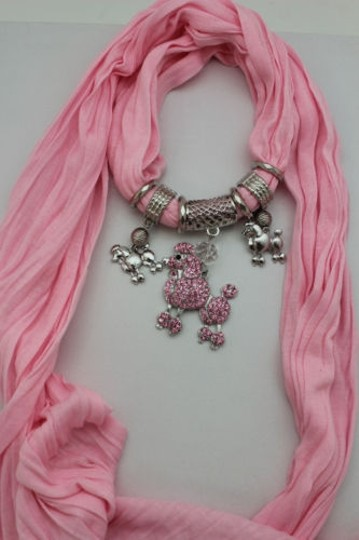 Alwaystyle4you Women Light Pink Scarf Fabric Dog Poodle Pendant Necklace Image 5
