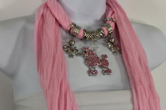 Alwaystyle4you Women Light Pink Scarf Fabric Dog Poodle Pendant Necklace Image 6