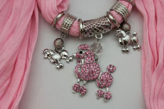 Alwaystyle4you Women Light Pink Scarf Fabric Dog Poodle Pendant Necklace Image 7