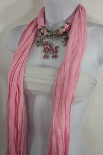 Alwaystyle4you Women Light Pink Scarf Fabric Dog Poodle Pendant Necklace Image 8