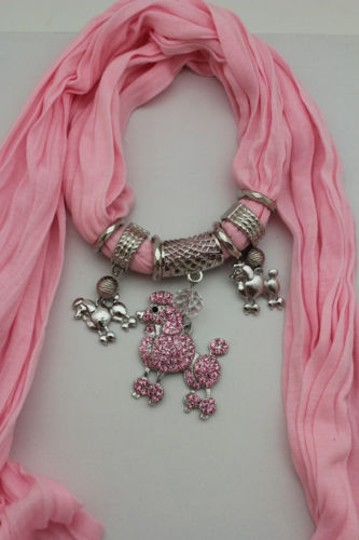 Alwaystyle4you Women Light Pink Scarf Fabric Dog Poodle Pendant Necklace Image 9