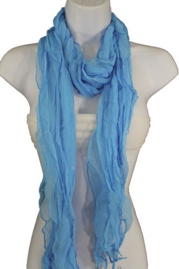 Alwaystyle4you Women Baby Blue Neck Scarf Tie Soft Wavy Fabric Wrap Sash Image 0