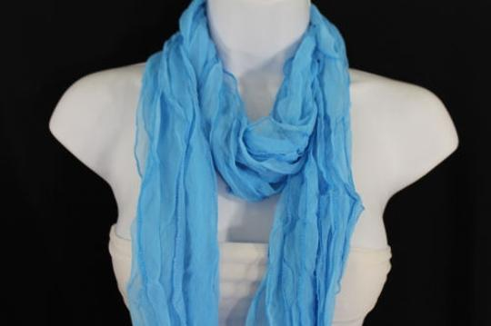 Alwaystyle4you Women Baby Blue Neck Scarf Tie Soft Wavy Fabric Wrap Sash Image 1