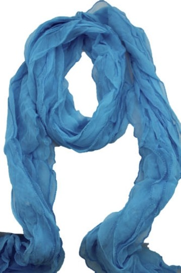 Alwaystyle4you Women Baby Blue Neck Scarf Tie Soft Wavy Fabric Wrap Sash Image 2