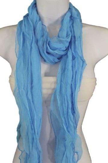 Alwaystyle4you Women Baby Blue Neck Scarf Tie Soft Wavy Fabric Wrap Sash Image 3