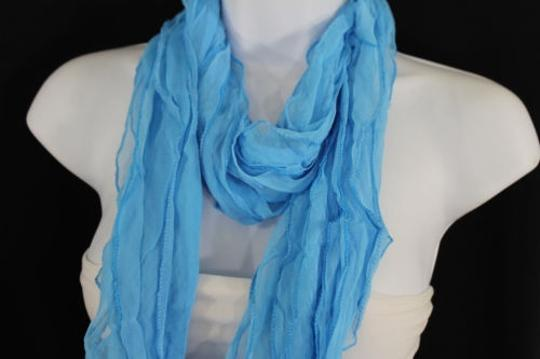 Alwaystyle4you Women Baby Blue Neck Scarf Tie Soft Wavy Fabric Wrap Sash Image 4