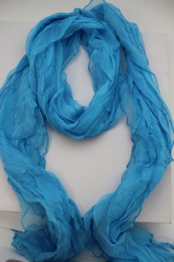 Alwaystyle4you Women Baby Blue Neck Scarf Tie Soft Wavy Fabric Wrap Sash Image 5