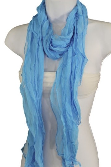 Alwaystyle4you Women Baby Blue Neck Scarf Tie Soft Wavy Fabric Wrap Sash Image 6