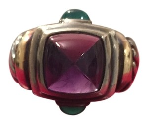 David Yurman David Yurman Amethyst and Emerald Large Cocktail Ring