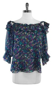 Nanette Lepore Multi Color Floral Print Silk Top
