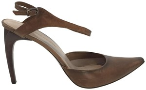 CoSTUME NATIONAL Taupe Leather Heels Brown Sandals