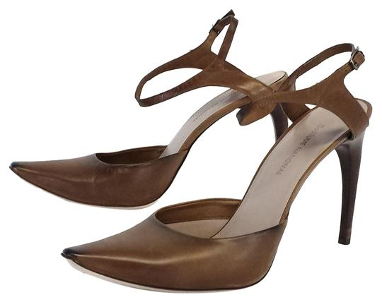 CoSTUME NATIONAL Taupe Leather Heels Brown Sandals Image 1