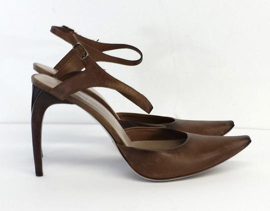 CoSTUME NATIONAL Taupe Leather Heels Brown Sandals Image 3