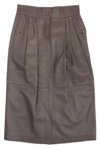 Gucci Vintage Taupe Leather Skirt