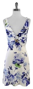 Roberto Cavalli short dress White/Blue Floral Print Sleeveless on Tradesy