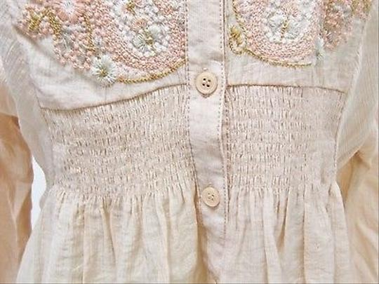 f2959bd5c14 lovely Free People People Peach Embroidered 34 Sleeve Split Neck Tunic Top
