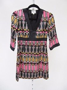 MILLY Womens Black Pink Dress