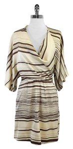Mara Hoffman short dress Tan Brown Striped Silk on Tradesy