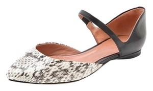 Sigerson Morrison Animal Print Mary Jane Pointed Toe Leather Beige, Brown & Black Flats