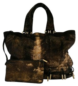 Donna Karan Brown Gold Metallic Tote