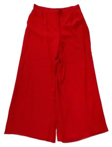 St. John Red Silk Trousers Trouser Pants