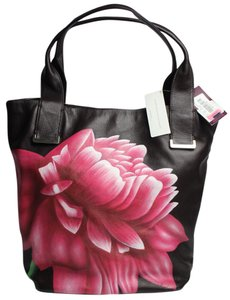 Elliott Lucca Floral Leather Tote in Brown