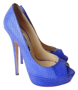 Jimmy Choo Pump Peep Toe Hidden Platform Blue Pumps