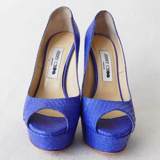 Jimmy Choo Peep Toe Hidden Platform Vibe Python Blue Pumps Image 1