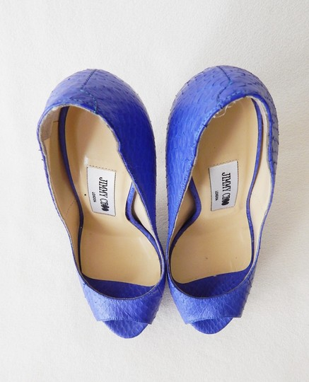 Jimmy Choo Peep Toe Hidden Platform Vibe Python Blue Pumps Image 2
