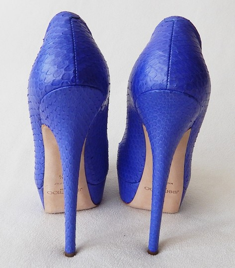 Jimmy Choo Peep Toe Hidden Platform Vibe Python Blue Pumps Image 5