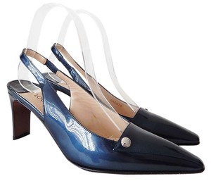 Louis Vuitton Patent Leather Slingback Metallic Teal Pumps