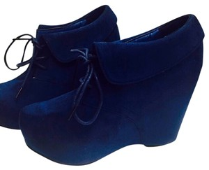 Suede Booties Wild Diva Royal Blue Boots