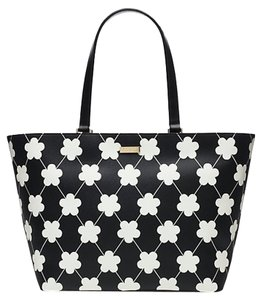 Kate Spade & Flower Floral Tote in Black and White