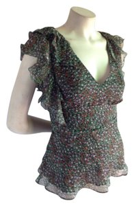 BCBGMAXAZRIA Peacock Peacock Sleeveless Asymmetrical Ruffle Flotter V Neck Top Green