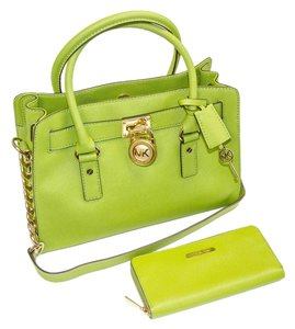 fdee3e7a6f7e Added to Shopping Bag. Michael Kors Leather Monogram Chain Gold Hardware  Gold Satchel in Green (Lime)
