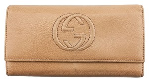 Gucci Gucci Soho Beige Leather Snap Flap Wallet(55393)