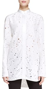 Alexander Wang Long-sleeve Tie-back Distressed Top white