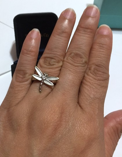 Tiffany & Co. Tiffany & Co - SOLID 18k 18kt White Gold - DRAGONFLY Ring with Diamond - Size = 5.25 - Retail = $2450 Image 10