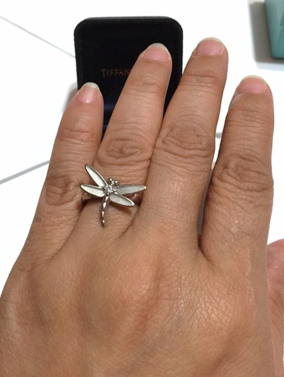 Tiffany & Co. Tiffany & Co - SOLID 18k 18kt White Gold - DRAGONFLY Ring with Diamond - Size = 5.25 - Retail = $2450 Image 11