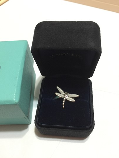 Tiffany & Co. Tiffany & Co - SOLID 18k 18kt White Gold - DRAGONFLY Ring with Diamond - Size = 5.25 - Retail = $2450 Image 4