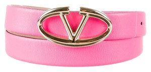 Valentino Fluorescent pink Valentino leather gold V logo buckle belt XL New