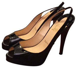 Christian Louboutin Platforms Designer Slingbacks Patent Leather Black Pumps