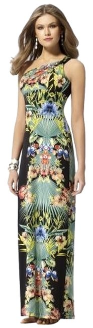 Item - Multicolor Sexy Tropical One Shoulder Evening Gown M (6-8) Long Formal Dress Size 8 (M)