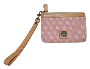Dooney & Bourke Zipper Closure Lined Wristlet in Pink and tan