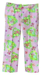 Lilly Pulitzer Boating Pants Printed Colored Pants Designer Capris Light pink, green, and yellow