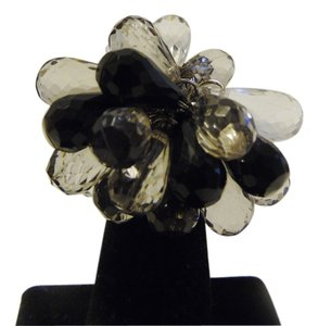 Black and Clear Stretch Ring Fits Size 8 to 10