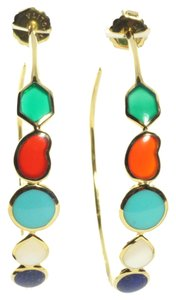 Ippolita Ippolita 18K Yellow Gold Large Riviera Sky Hoop Earrings Turquoise Lapis #3 2