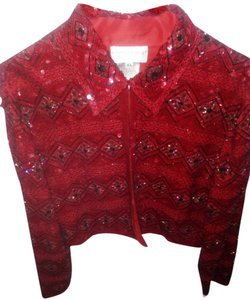 Adrianna Papell Red Beaded Blazer